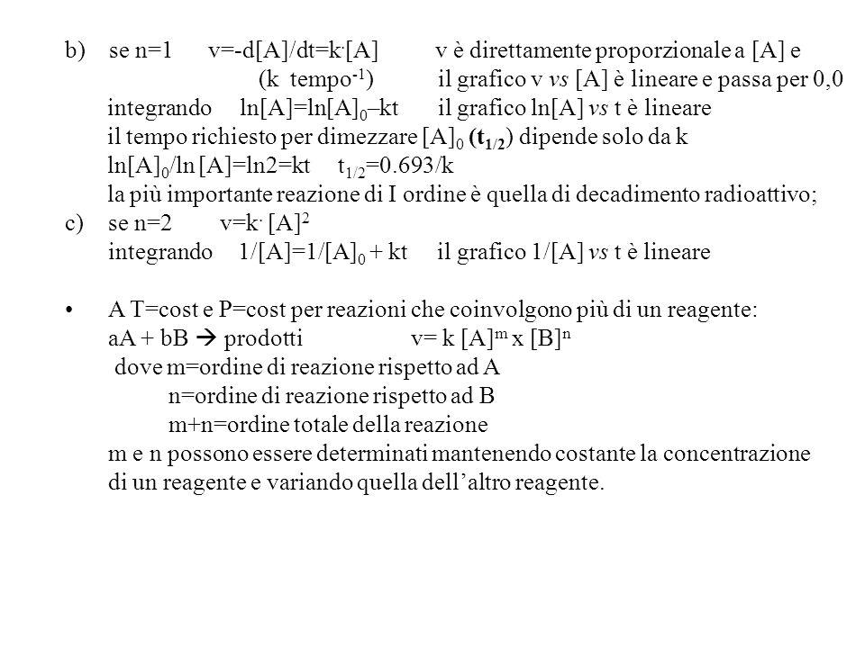 b) se n=1 v=-d[A]/dt=k.[A] v è direttamente proporzionale a [A] e